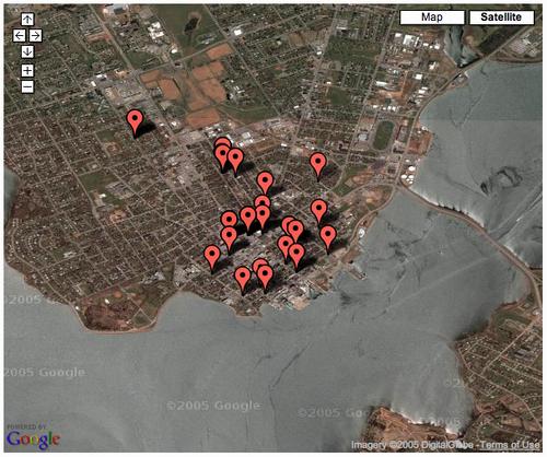 Google Maps API-created satellite image