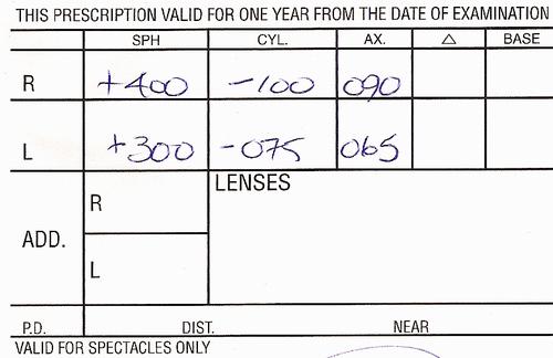 A snip of my eyeglasses prescription