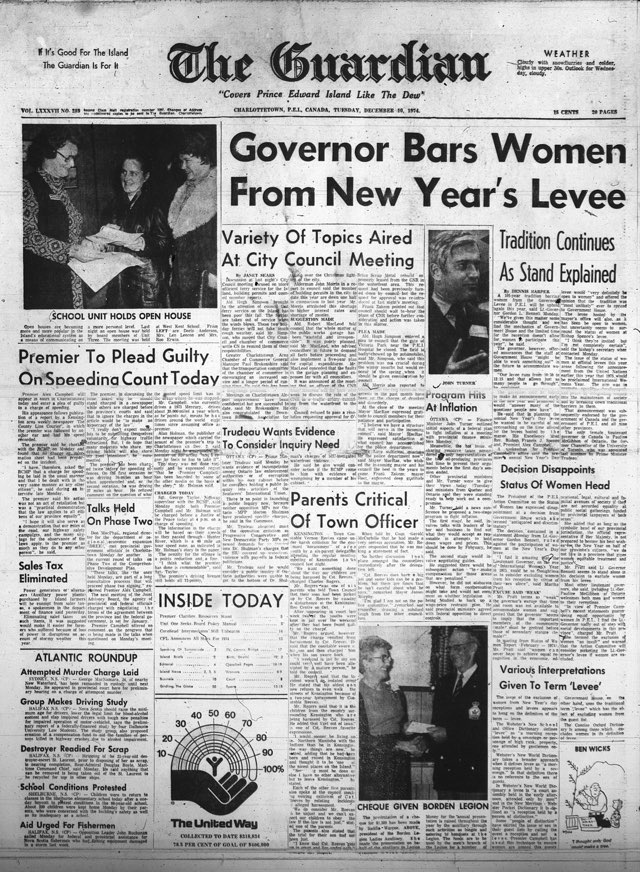 Headline of The Guardian, December 10, 1974: Governor Bars Women from New Year's Levee