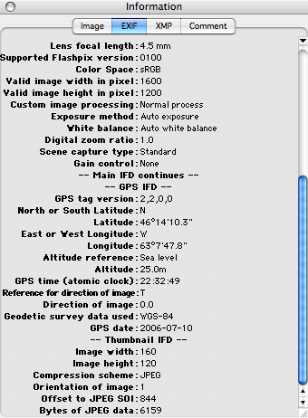 Graphic Converter Screen Shot showing GPS data in EXIF