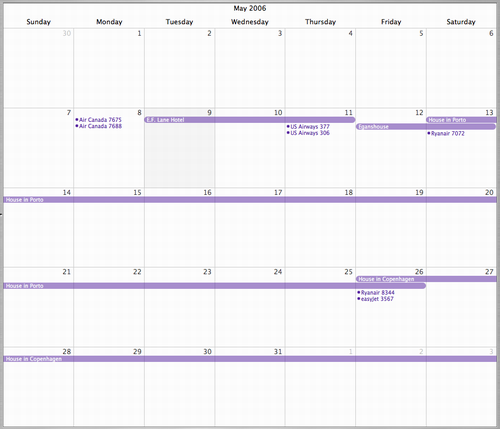 My Itinerary in iCal