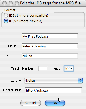 Export as an MP3 from Audacity: Adding ID3 tags