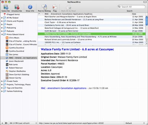 Screen Shot of NetNewsWire showing IRAC Applications RSS feed