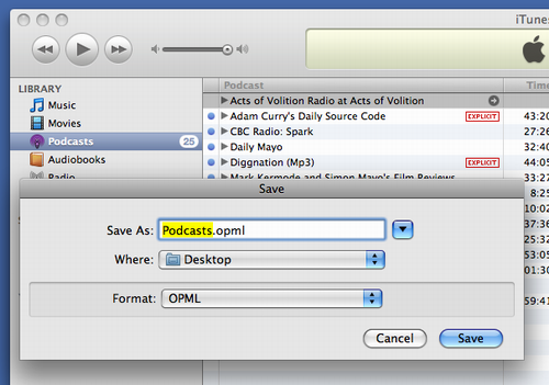 Exporting podcast subscriptions from iTunes as OPML