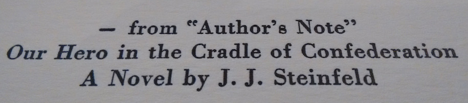 Title of typeset Our Hero in the Cradle of Confederation.