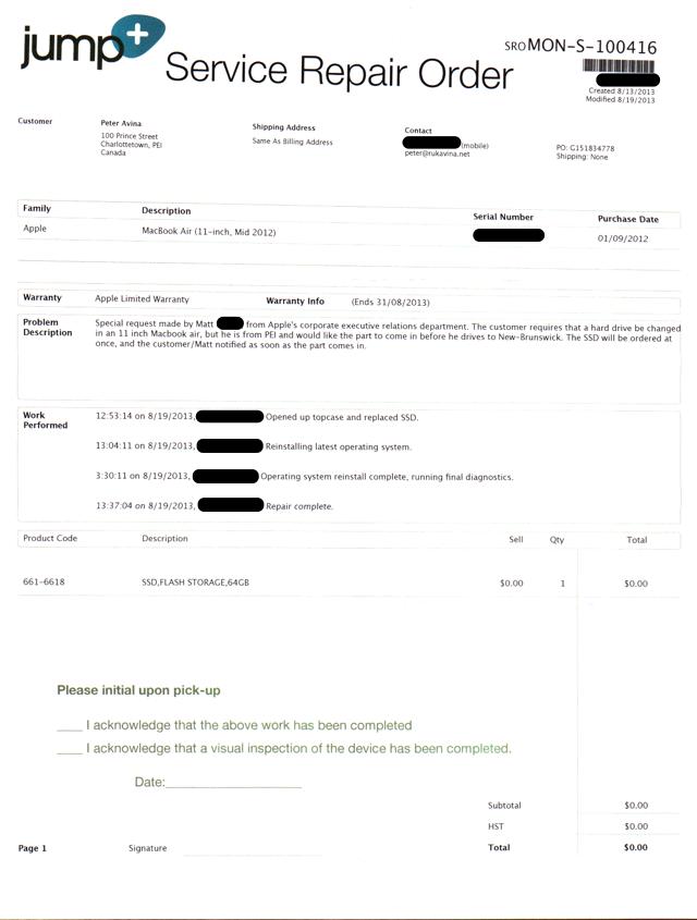 Jump+ Service Repair Order for Oliver's MacBook Air