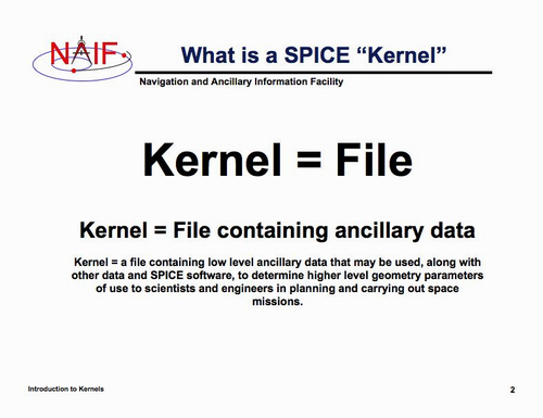 Slide from NAIF SPICE tutorial