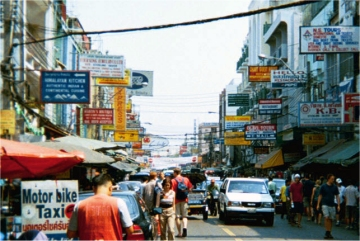 Khao San Road in Bangkok, February 2002
