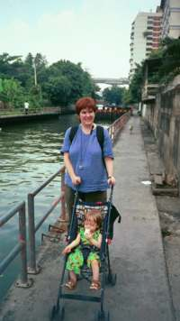 Catherine and Oliver on the Klong in Bangkok