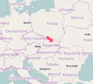 Map of Central Europe showing location of Kosice
