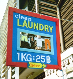 Laundry Sign, Khao San Road District in Bangkok, February 2002