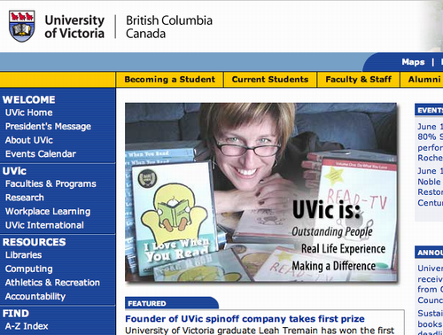 Leah Tremain on the front page of UVic.ca