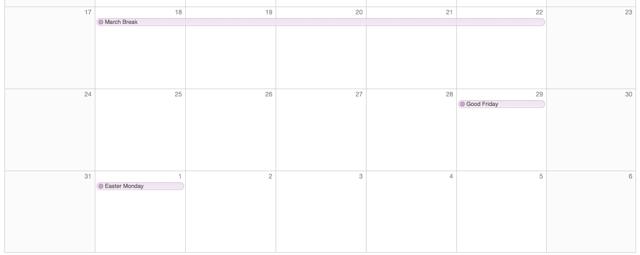 March Break Calendar