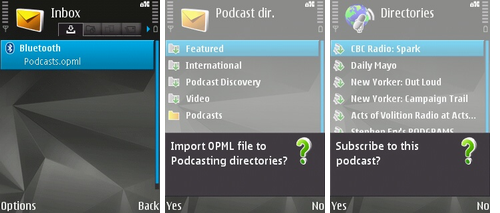 Importing an OPML file into Nokia Podcasting