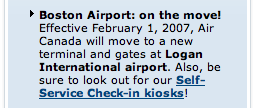 Excerpt of Air Canada email newsletter