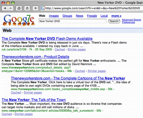 Google search screen shot for New Yorker DVD