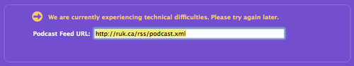 iTunes Podcast Directory displaying error message