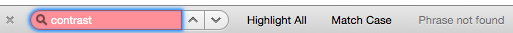 """Not Found """"contrast"""" in search within page for browser."""