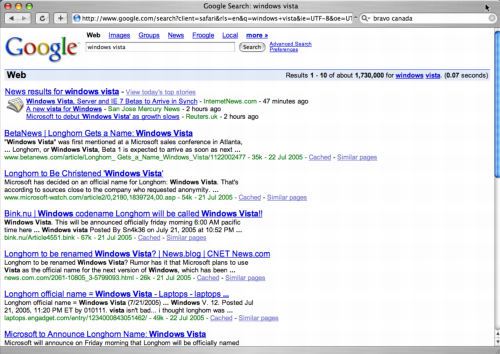 Google search for Windows Vista