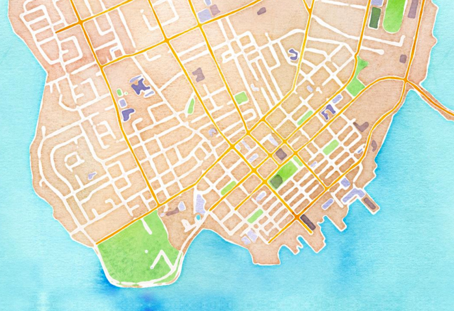 OpenStreetMap Watercolour of Charlottetown
