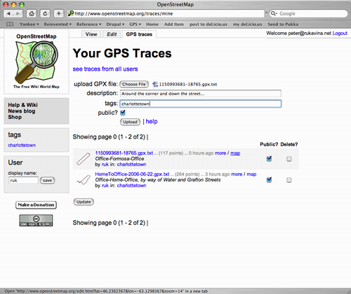 Uploading GPS Traces to OpenStreetMap