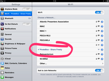 iPad Screen Shot showing PirateBox SSID