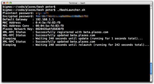Updated Plazes BASH Launcher screen shot