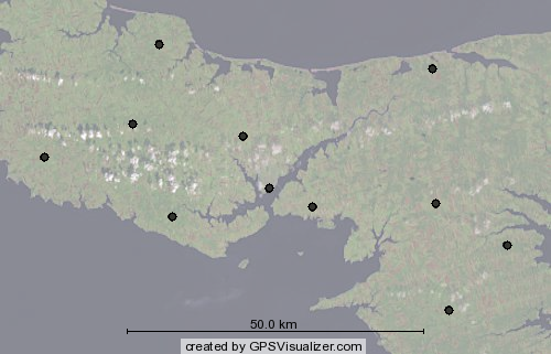 Map Showing Rogers PCS/Cellular Towers around Charlottetown