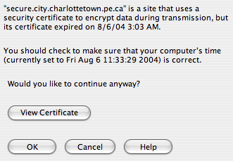 Digital Certificate Problem in Charlottetown