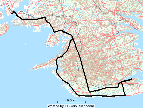 GPS Traces showing route from Charlottetown to King's Castle Provincial Park