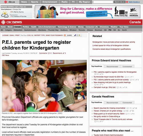 Screen shot of CBC news story showing photo of children.