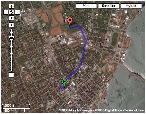 Google Map Showing the trip to Ravenwood from the Office