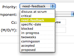 Trac Priorities drop-down list screen shot.