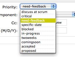 Trac Priorities drop-down list screen shot.