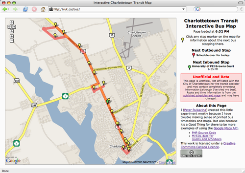 Interactive Charlottetown Transit Map Screen Shot