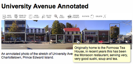Flickr Screen Shot showing annotation of University Avenue