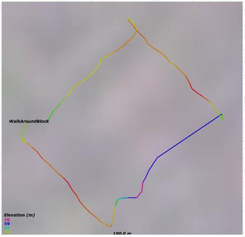 GPS Visualizer Map of my Walk Around the Block