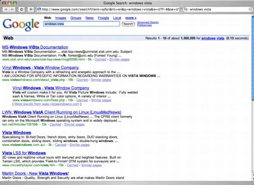 Google search for Windows Vista