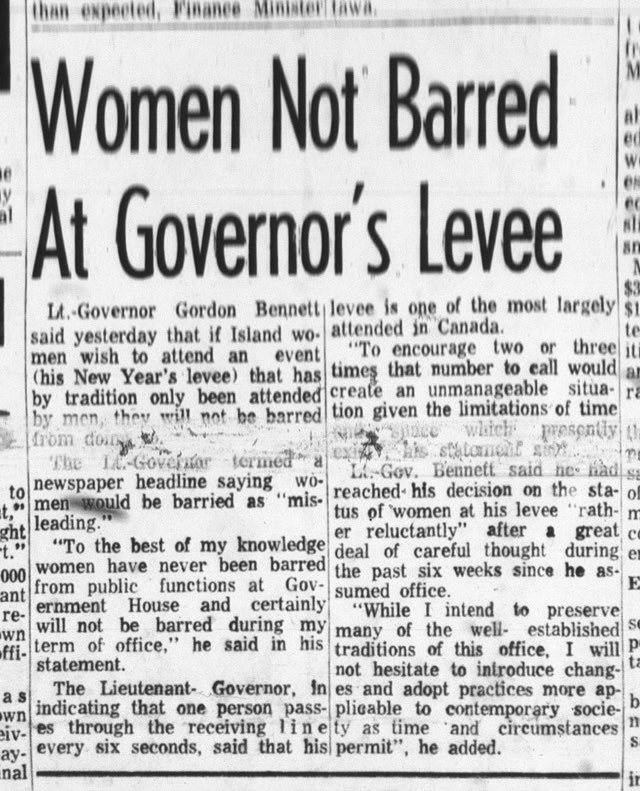 Women Not Barred At Governor's Levee