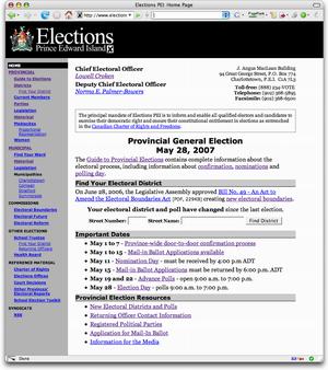 Snapshot of Elections PEI Website