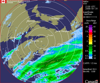 Weather Radar Image showing incoming storm over Halifax