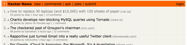 Hacker News Screen Shot