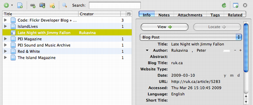 Zotero Add-on browsing a reference