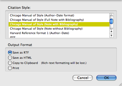 Zotero.org Select Citation Style