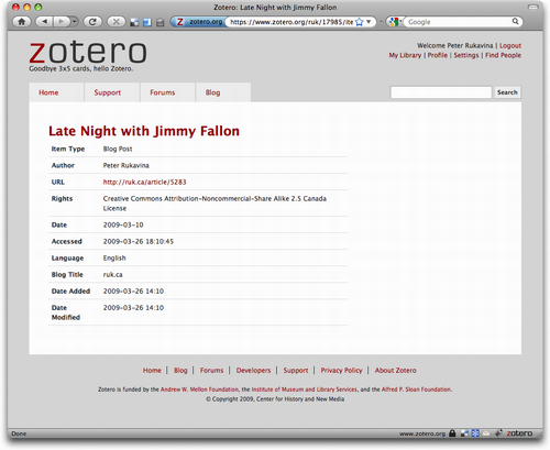 Zotero.org website browsing a reference