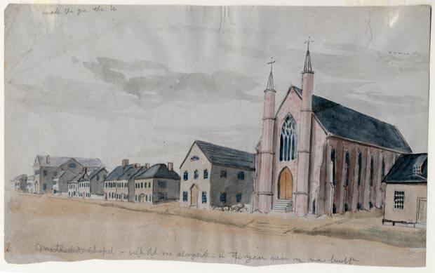 Robert Harris (1849 - 1919)  Methodist Chapel, 1870, Confederation Centre Art Gallery CAG H-193