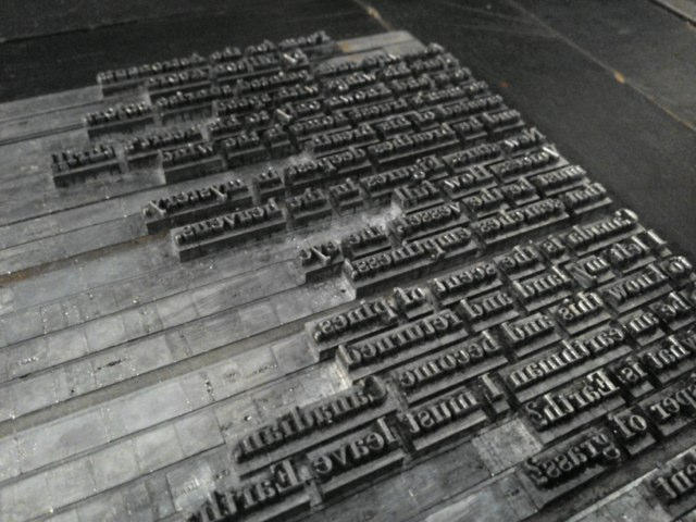 Photo of Letterpress Type in Chase