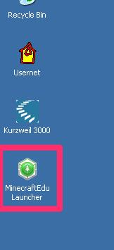 Minecraft launcher icon on the WIndows XP desktop
