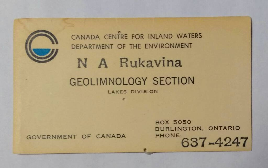 Dad's early business card, Geolimnology Section, Lakes Division, CCIW