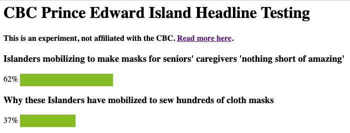 Screen shot of CBC PEI testing headlines again.